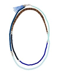 Lydell Extra Long Beaded Necklace Blue Multi