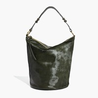 Madewell The Lisbon O Ring Bucket Bag In Calf Hair Tent Green
