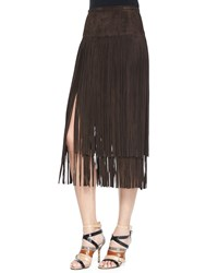 Michael Kors Suede Fringe Skirt Chocolate