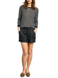Hush Stripe Boat Neck Jumper Black Ecru