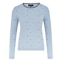 Viyella Merino Spot Embroidered Jumper Pale Blue