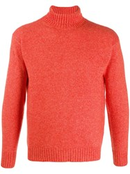 Laneus Slim Fit Roll Neck Jumper Orange