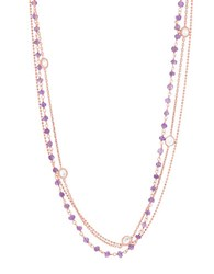 Lord And Taylor Triple Layered Cubic Zirconia 18K Rose Gold Station Necklace Purple