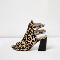 River Island Womens Brown Leopard Print Pony Look Shoe Boots