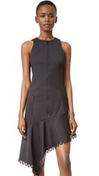 Jonathan Simkhai Zip Front Ruffle Dress Black