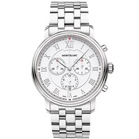 Montblanc 114340 Men's Tradition Chronograph Date Bracelet Strap Watch Silver White