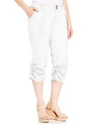 Inc International Concepts Plus Size Ruched Cargo Pants Bright White