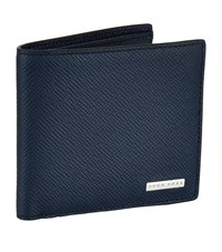 Boss Leather Signature S Card Holder Unisex Navy