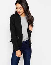 Glamorous Blazer With Zip Details Black