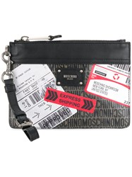 Moschino Printed Clutch Bag Black