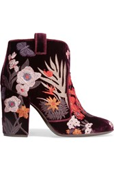 Laurence Dacade Pete Embroidered Velvet Ankle Boots Burgundy