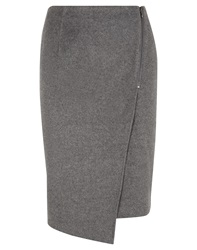 Nougat London Nougat Mock Wrap Asymmetric Pencil Skirt Grey