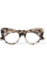 Stella Mccartney Chain Trimmed Cat Eye Acetate Optical Glasses Beige
