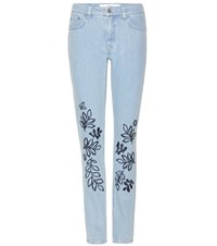 Victoria Beckham Embroidered Jeans Blue