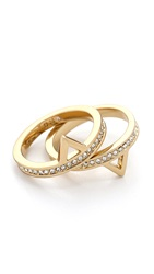 Rebecca Minkoff Stack Triangle Ring Set Gold Clear