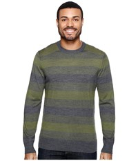 Smartwool Kiva Ridge Stripe Crew Light Loden Heather Men's Clothing Green