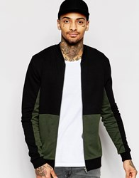 Asos Jersey Bomber Jacket With Cut And Sew In Khaki