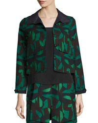 Akris Garden Print Short Jacket Green Black Green Black