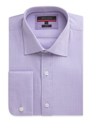Pierre Cardin Men's Herringbone Classic Fit Long Sleeve Shirt Lilac