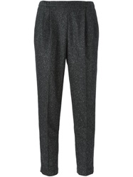Brunello Cucinelli Tweed Slim Fit Cropped Trousers Grey