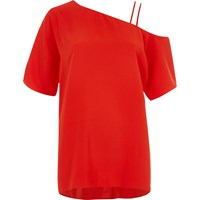 River Island Red One Cold Shoulder Double Cami Strap Top