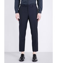 The Kooples Classic Fit Tapered Wool And Mohair Blend Trousers Nav01