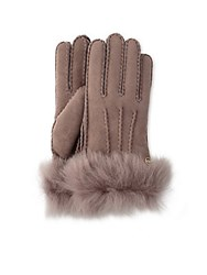 Ugg Toscana Shearling Trimmed Leather Gloves Stormy Grey
