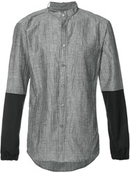Public School Mandarin Neck Bicolour Shirt Grey
