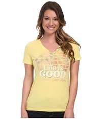 Life Is Good Cool Vee Lemony Yellow Women's Short Sleeve Pullover White