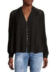 Free People Canyon Rose Embroidered Button Front Blouse Black