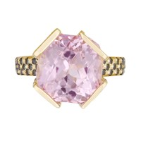 Maiko Nagayama Kunzite Cocktail Ring Black Gold Pink