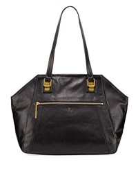 Elliott Lucca Faro Leather Shoulder Tote Bag Black