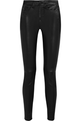 7 For All Mankind Leather Skinny Pants Black