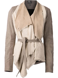 Lost And Found Draped Shearling Jacket Nude And Neutrals