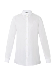Freda Point Collar Cotton Boyfriend Shirt