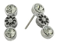 Marc Jacobs Daisy Grommet Studs Earrings Crystal Antique Silver