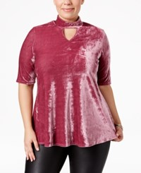 Ny Collection Plus Size Velvet Mock Neck Top Mauve Velvet