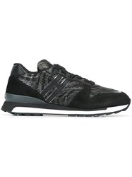 Hogan Rebel Panelled Lace Up Sneakers Black