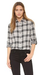 Alice Olivia Piper Button Down Blouse With Leather Tabs Cream Black