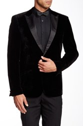 Edge By Wd.Ny Black Felt Faux Leather Peak Lapel Single Button Dinner Jacket
