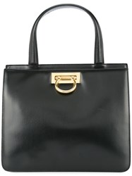 Celine Vintage Double Compartment Structured Tote Black