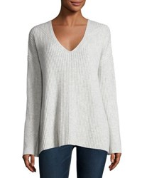 Rag And Bone Phyllis Ribbed Cashmere Sweater Light Gray Light Grey