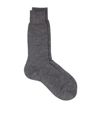 Harrods Plain Ribbed Merino Socks Grey
