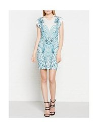 Just Cavalli Peacock Print Cap Sleeve Dress White Blue