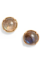 Argentovivo Argento Vivo Cabachon Stud Earrings Labradorite Gold