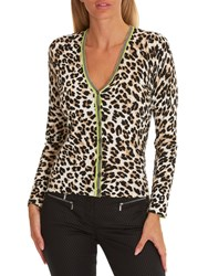 Betty Barclay Animal Print Cardigan Beige Black