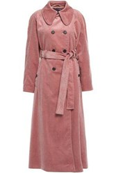Alexachung Woman Double Breasted Cotton Corduroy Trench Coat Antique Rose