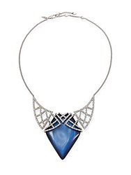 Alexis Bittar Crystal Encrusted Lattice And Lucite Bib Necklace Blue