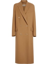 Burberry Double Breasted Wool Tailored Coat Brown