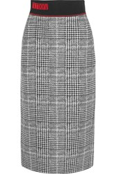 Fendi Jersey Trimmed Checked Wool And Silk Blend Midi Skirt Gray